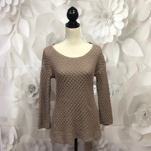 Old Navy Beige Open Knit Long Sleeve Sweater M NWT